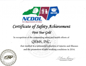 NCDOL 1st Year Gold Safety Award: QEMS