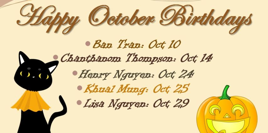 QEMS Celebrates 2016 October Birthdays